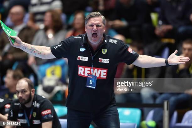 Head coach Nikolaj Jacobsen of RheinNeckar Loewen reacts during the EHF Champions League match between Rhein Neckar Loewen and MolPick Szeged at...