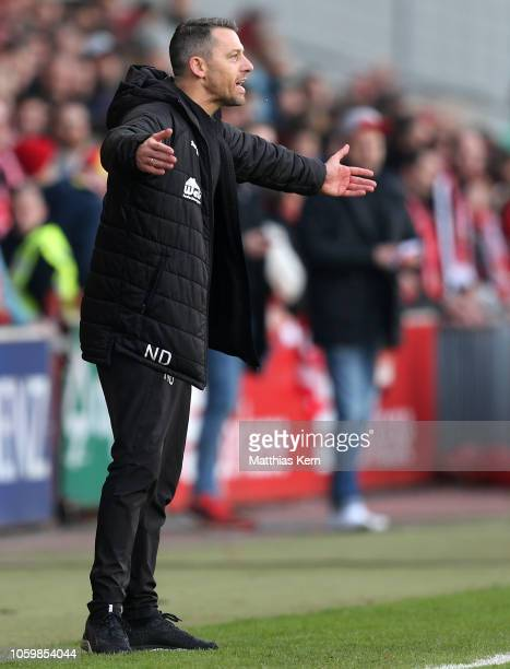Head coach Nils Drube of Lotte reacts during the 3. Liga match between FC Energie Cottbus and VfL Sportfreunde Lotte at Stadion der Freundschaft on...
