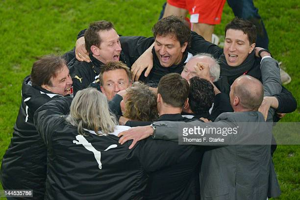 Head coach Norbert Meier celebrates after the Bundesliga Relegation match between Fortuna Duesseldorf and Hertha BSC Berlin at EspritArena on May 15...