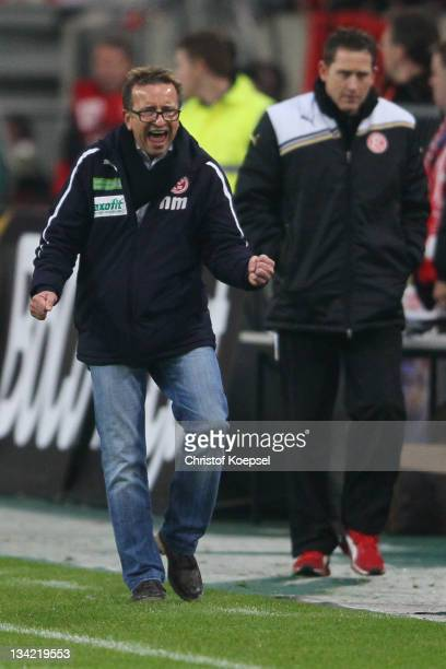 Head coach Norbert Meier celebrates the 21 victory after the Second Bundesliga match between Fortuna Duesseldorf and Greuther Fuerth at Esprit Arena...