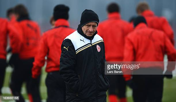 Head coach Norbert Meier looks on during a Fortuna Duesseldorf training session on March 14 2013 in Duesseldorf Germany