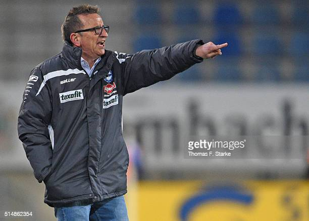 Head coach Norbert Meier of Bielefeld reacts during the Second Bundesliga match between Arminia Bielefeld and 1 FC Nuernberg at Schueco Arena on...