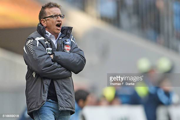 Head coach Norbert Meier of Bielefeld reacts during the Second Bundesliga match between 1860 Muenchen and Arminia Bielefeld at Allianz Arena on March...