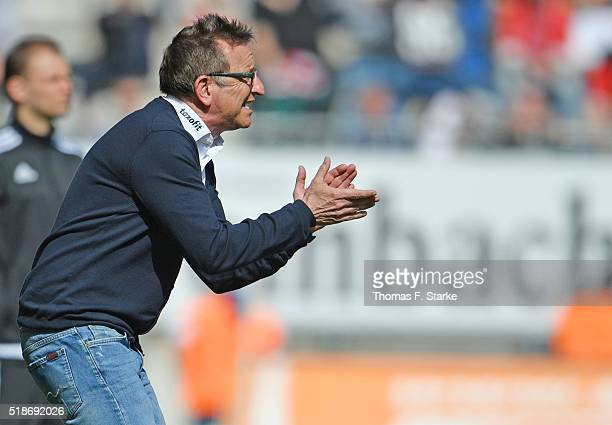 Head coach Norbert Meier of Bielefeld reacts during the Second Bundesliga match between Arminia Bielefeld and Fortuna Duesseldorf at Schueco Arena on...