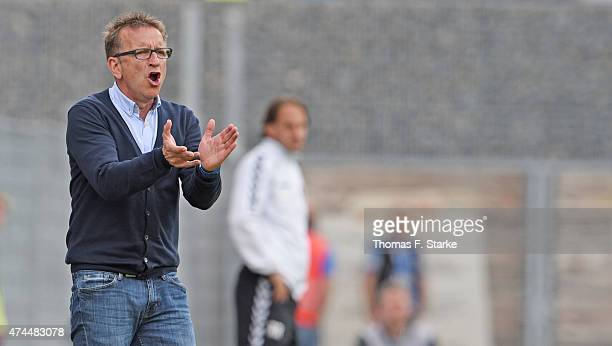 Head coach Norbert Meier of Bielefeld reacts during the Third League match between SonnenhofGrossaspach and Arminia Bielefeld at mechatronik Arena on...