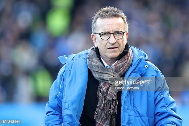 Head coach Norbert Meier of Darmstadt looks on prior to the Bundesliga match between SV Darmstadt 98 and FC Ingolstadt 04 at Stadion am...