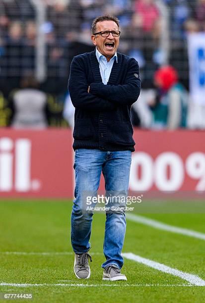Head coach Norbert Meier of Darmstadt reacts during the Bundesliga match between SV Darmstadt 98 and VfL Wolfsburg at Stadion am Boellenfalltor on...