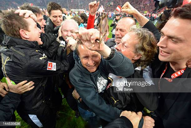Head coach Norbert Meier of Duesseldorf celebrates after the Bundesliga Relegation second leg match between Fortuna Duesseldorf and Hertha BSC Berlin...