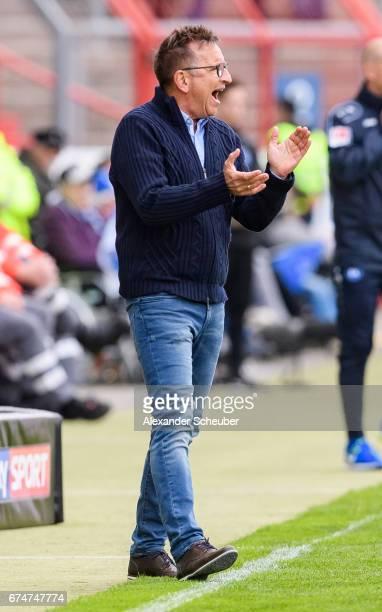 Head coach Norbert Meier of FC Kaiserslautern is seen during the Second Bundesliga match between Karlsruher SC and 1 FC Kaiserslautern at...