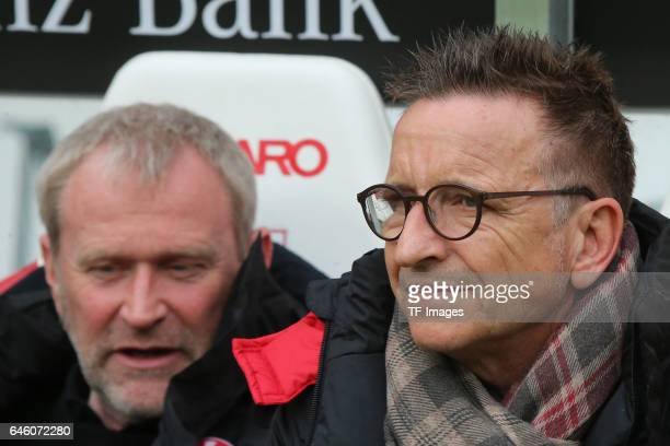 Head coach Norbert Meier of Kaiserslautern and Uwe Stoever of Kaiserslautern looks on during the Second Bundesliga match between VfB Stuttgart and 1...