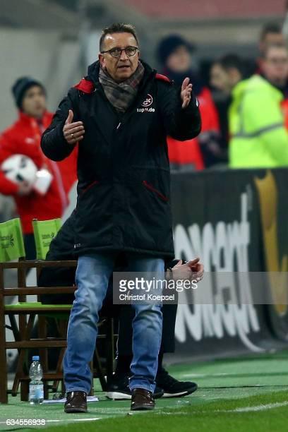 Head coach Norbert Meier of Kaiserslautern issues instructions during the Second Bundesliga match between Fortuna Duesseldorf and 1 FC Kaiserslautern...