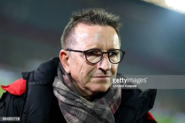 Head coach Norbert Meier of Kaiserslautern looks on prior to the Second Bundesliga match between Fortuna Duesseldorf and 1 FC Kaiserslautern at...