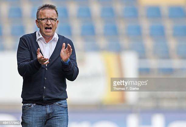 Head coach Norbert Meier reacts during the Second Bundesliga match between Arminia Bielefeld and SV Sandhausen at Schueco Arena on October 25 2015 in...