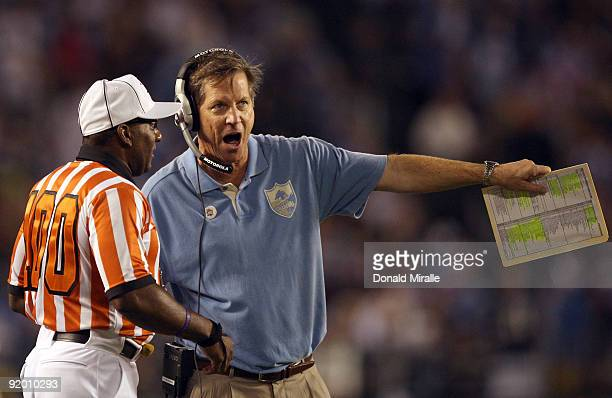 Head Coach Norv Turner of the San Diego Chargers complains to the referee about a call against the Denver Broncos during Monday Night Football on...