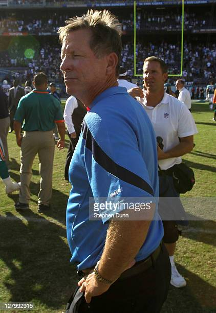 Head coach Norv Turner of the San Diego Chargers walks off the field after the game with the Miami Dolphins at Qualcomm Stadium on October 2 2011 in...