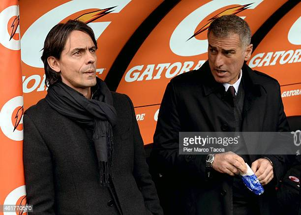 Head Coach of AC Milan Filippo Inzaghi and Mauro Tassotti look at his players during the the Serie A match between AC Milan and Atalanta BC at Stadio...