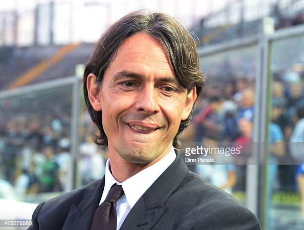 Head coach of AC Milan Filippo Inzaghi looks on during the Serie A match between Atalanta BC and AC Milan at Stadio Atleti Azzurri d'Italia on May 30...