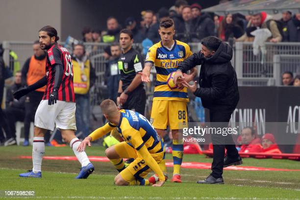 head coach of AC Milan Gennaro Gattuso and Alberto Grassi of Parma Calcio 1913 during the serie A match between AC Milan and Parma Calcio 1913 at...