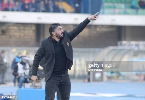 Head coach of AC Milan Gennaro Gattuso issues instructions as his players during the Serie A match between Hellas Verona FC and AC Milan at Stadio...