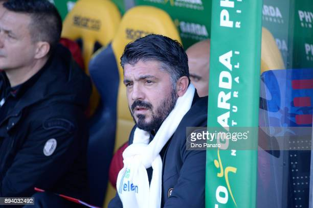 Head coach of AC Milan Gennaro Gattuso looks on during the Serie A match between Hellas Verona FC and AC Milan at Stadio Marc'Antonio Bentegodi on...
