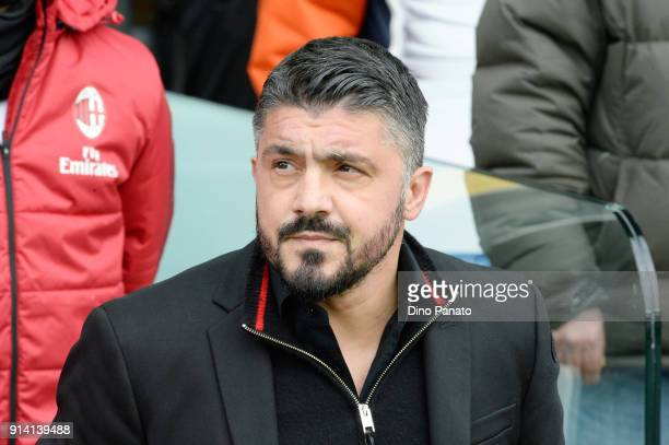Head coach of AC Milan Gennaro Gattuso looks on during the serie A match between Udinese Calcio and AC Milan at Stadio Friuli on February 4 2018 in...