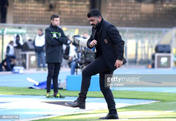 Head coach of AC Milan Gennaro Gattuso reacts during the Serie A match between Hellas Verona FC and AC Milan at Stadio Marc'Antonio Bentegodi on...