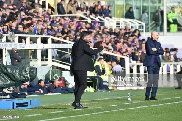 Head Coach of AC Milan Rino Gattuso gives tactics during Italy Serie A soccer match between ACF Fiorentina and AC Milan at Stadio Artemio Franchi in...