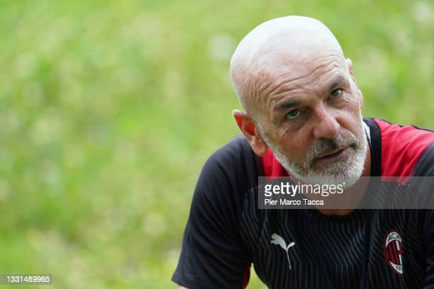 Head Coach of AC Milan Stefano Pioli attends an AC Milan Training Session at Milanello on July 30, 2021 in Cairate, Italy.