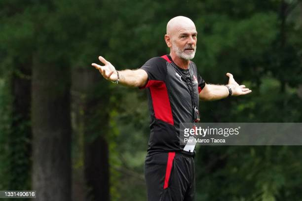 Head Coach of AC Milan Stefano Pioli gestures during an AC Milan Training Session at Milanello on July 30, 2021 in Cairate, Italy.
