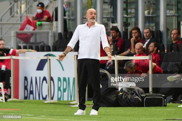 Head Coach of AC Milan Stefano Pioli gestures during the Serie A match between AC Milan and AS Roma at Stadio Giuseppe Meazza on June 28 2020 in...