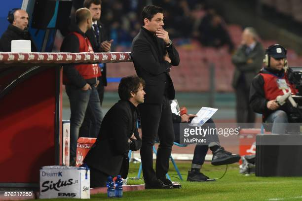 Head Coach of AC Milan Vincenzo Montella during the Serie A TIM match between SSC Napoli and AC Milan at Stadio San Paolo Naples Italy on 18 November...