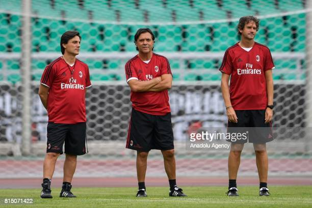 Head coach of AC Milan Vincenzo Montella is seen during a training session ahead of the 2017 International Champions Cup football match between AC...