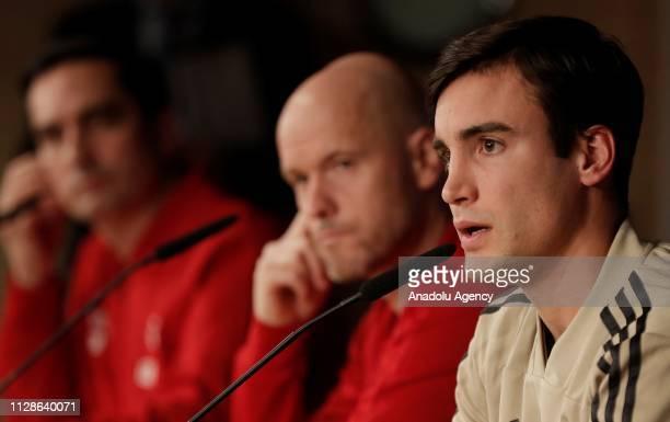 Head coach of Ajax Erik Ten Hag and Nicolas Tagliafico of Ajax attend a press conference ahead of their UEFA Champions League Round of 16 second leg...