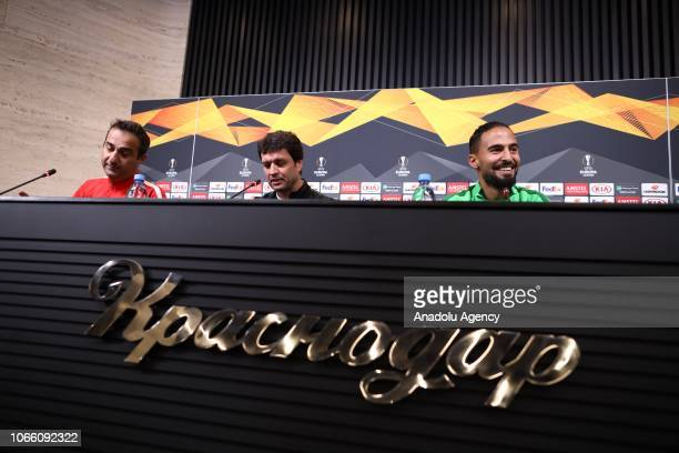 Head coach of Akhisarspor Cihat Arslan and his player Helder Barbosa hold a press conference ahead of the UEFA Europa League Group J match between...