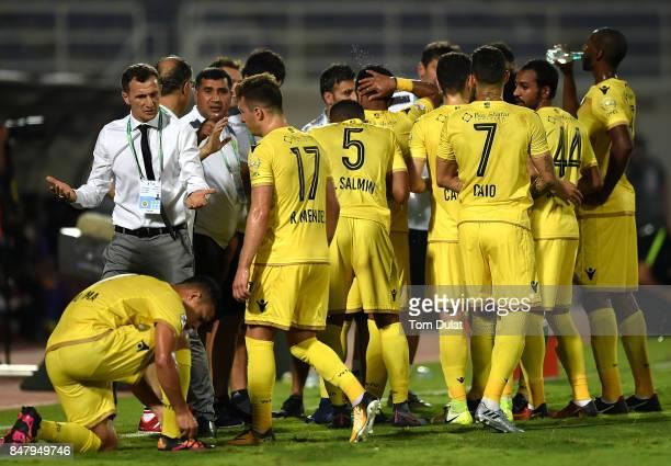 Head Coach of Al Wasl, Rodolfo Arruabarrena gives instructions during the Arabian Gulf League match between Al Ain and Al Wasl at Khalifa bin Zayed...