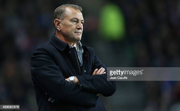 Head coach of Albania Gianni De Biasi looks on during the international friendly match between France and Albania at Stade de la Route de Lorient...