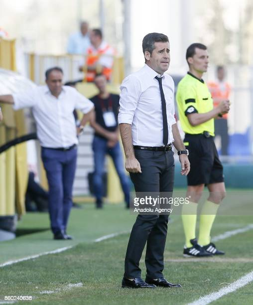 Head Coach of Altinordu Huseyin Eroglu follows his players during Turkish Football Federation 1st League match between Altinordu and Gaziantepspor at...