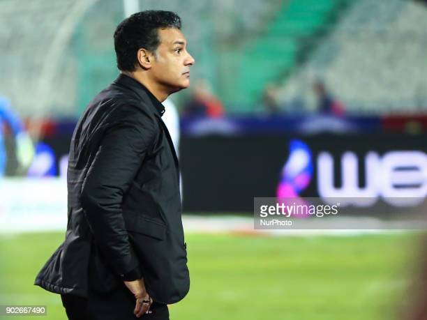 Head coach of AlZamalek reacts after Alahli scores a goal during the Egypt Premier League Fixtures 17 match between Al Ahly and Zamalek at the Cairo...