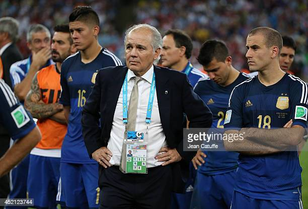 Head coach of Argentina Alejandro Sabella looks on after losing the 2014 FIFA World Cup Brazil Final match between Germany and Argentina at Estadio...