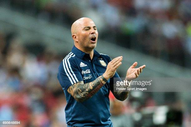 Head coach of Argentina Jorge Sampaoli during the International Test match between Argentina and Singapore at National Stadium on June 13 2017 in...