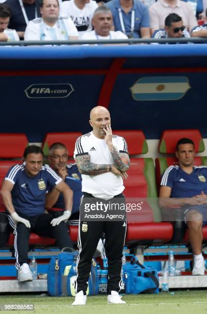 Head coach of Argentina Jorge Sampaoli looks on during 2018 FIFA World Cup Russia Round of 16 match between France and Argentina at the Kazan Arena...