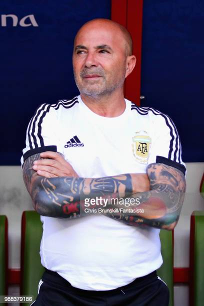 Head Coach of Argentina Jorge Sampaoli looks on during the 2018 FIFA World Cup Russia Round of 16 match between France and Argentina at Kazan Arena...