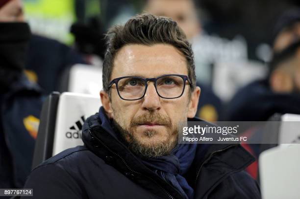 head coach of AS Roma Eusebio Di Francesco attends the serie A match between Juventus and AS Roma at Allianz Stadium on December 23 2017 in Turin...