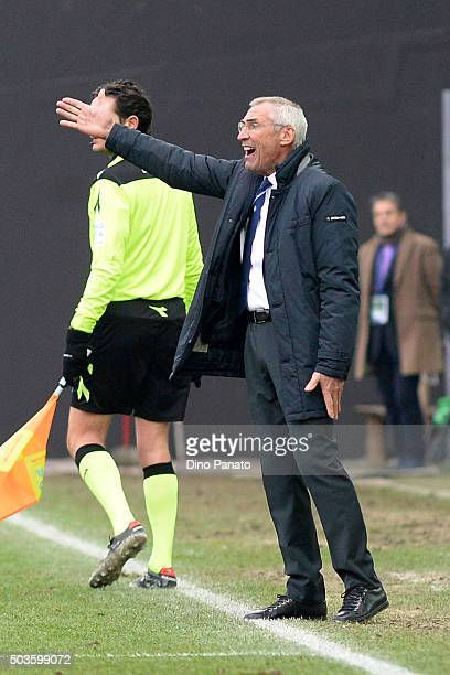 Head coach of Atalanta BC Edoardo Reja reacts during the Serie A match between Udinese Calcio v Atalanta BC at Stadio Friuli on January 6 2016 in...