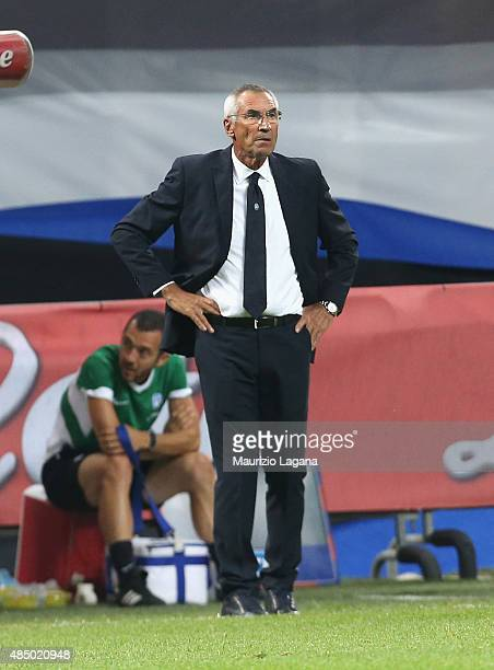 Head coach of Atalanta Edoardo Reja during the Serie A match between FC Internazionale Milano and Atalanta BC at Stadio Giuseppe Meazza on August 23...