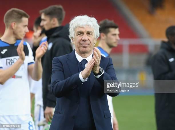 Head coach of Atalanta Giampiero Gasperini celebrates after the Serie A match between US Lecce and Atalanta BC at Stadio Via del Mare on March 1,...