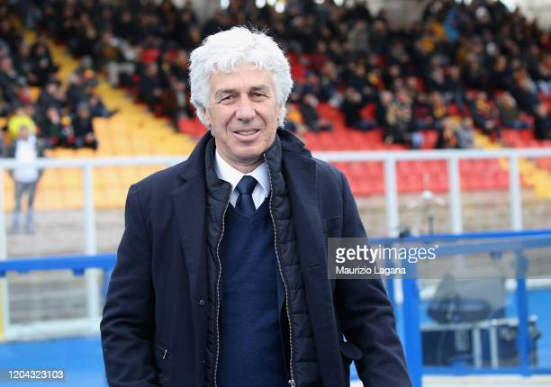 Head coach of Atalanta Giampiero Gasperini looks on during the Serie A match between US Lecce and Atalanta BC at Stadio Via del Mare on March 1, 2020...