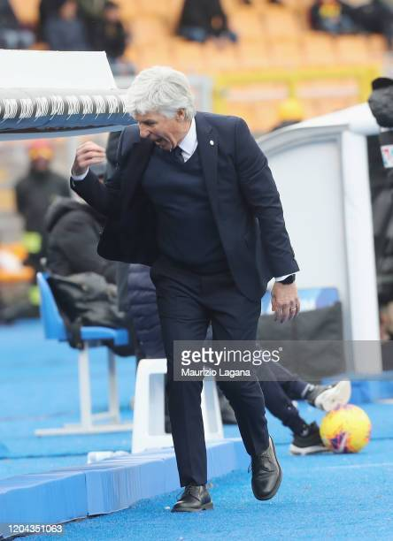 Head coach of Atalanta Giampiero Gasperini reacts during the Serie A match between US Lecce and Atalanta BC at Stadio Via del Mare on March 1 2020 in...