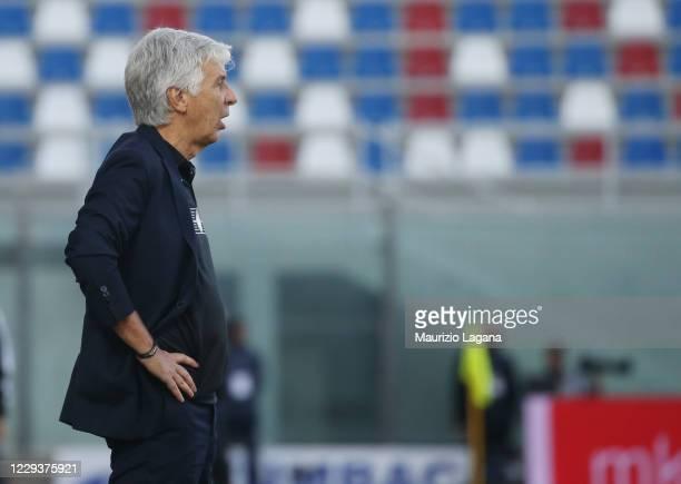 Head coach of Atalanta Giampiero Gasperini reacts during the Serie A match between FC Crotone and Atalanta BC at Stadio Comunale Ezio Scida on...