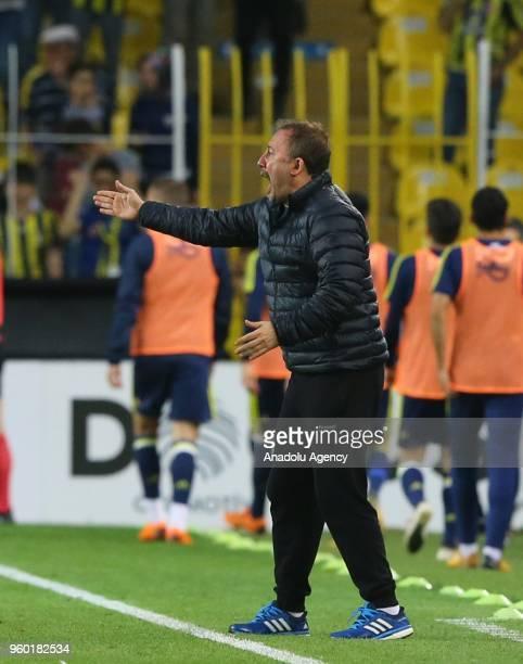 Head coach of Atiker Konyapsor Sergen Yalcin gives tactics during Turkish Super Lig soccer match between Fenerbahce and Konyaspor at Ulker Stadium in...